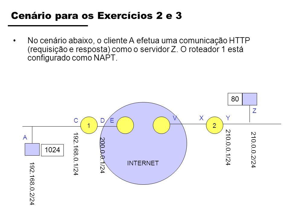 INTERNET Cenário para os Exercícios 2 e 3 No cenário abaixo, o cliente A efetua uma comunicação HTTP (requisição e resposta) como o servidor Z. O rote