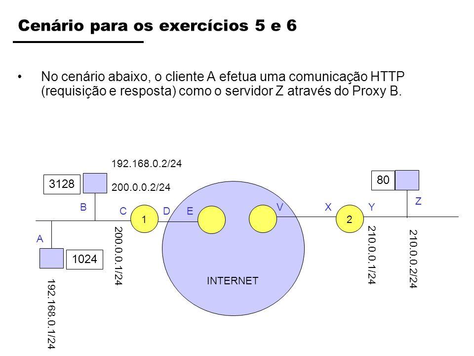 INTERNET Cenário para os exercícios 5 e 6 No cenário abaixo, o cliente A efetua uma comunicação HTTP (requisição e resposta) como o servidor Z através