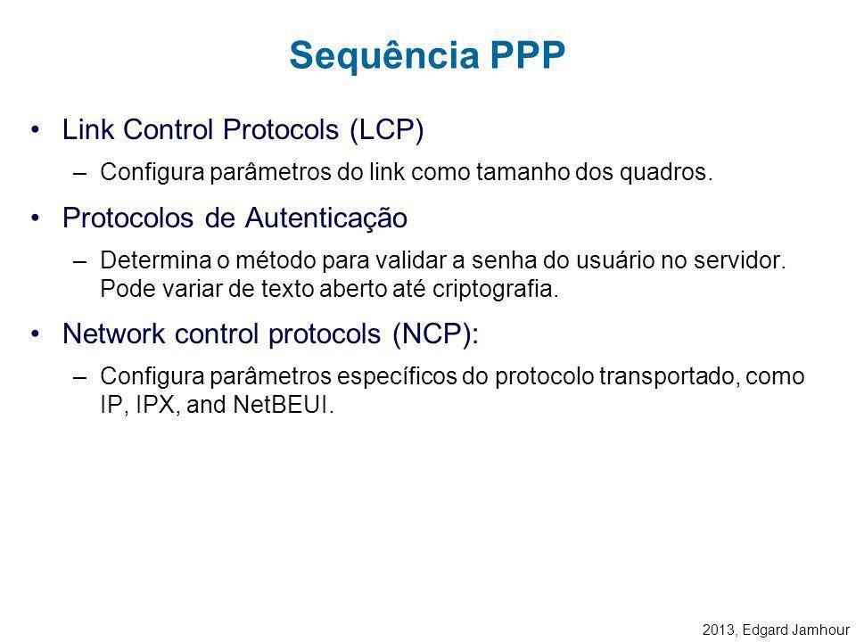 2013, Edgard Jamhour O Frame PPP segue uma variante da estrutura do HDLC (High-level Data Link Control) –FLAG: 0x7E –ADDRESS: Usualmente FF (broadcast