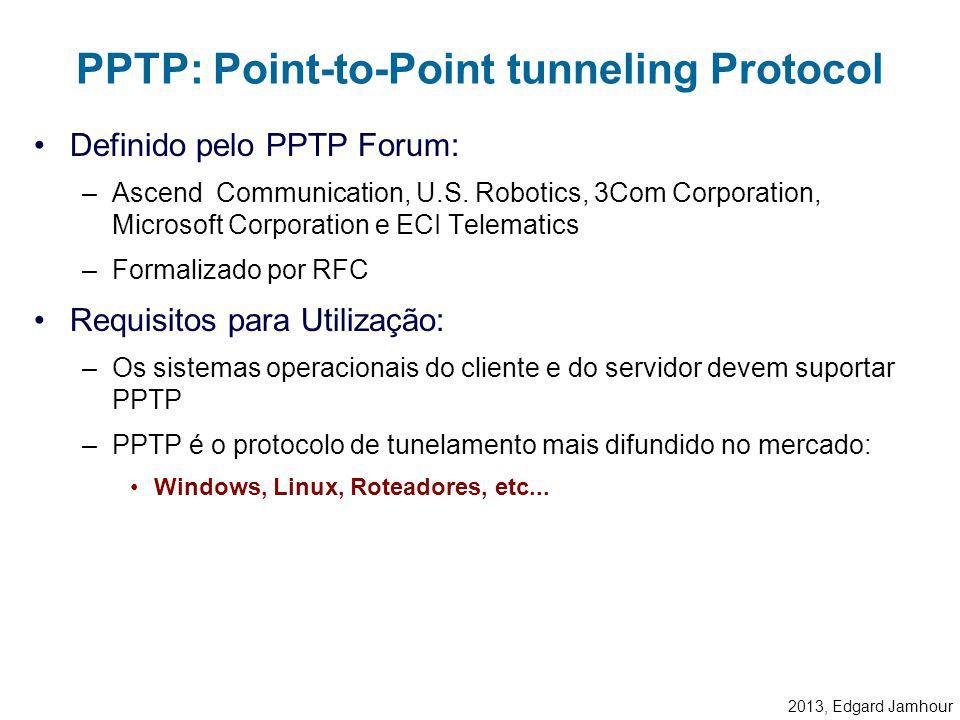 2013, Edgard Jamhour Link Control Protocols (LCP) –Configura parâmetros do link como tamanho dos quadros. Protocolos de Autenticação –Determina o méto