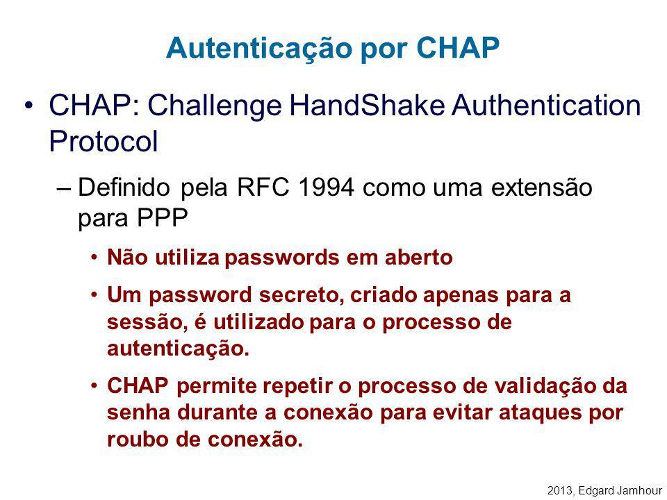 2013, Edgard Jamhour Exemplo de VPN com Firewall INTERNET 1723>1023 IP_Servidor_VPN FIREWALL: Liberar a porta TCP 1723 no IP = Servidor_VPN Liberar o
