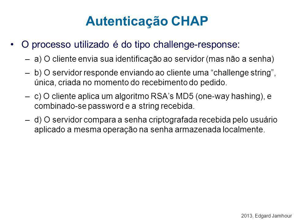2013, Edgard Jamhour Autenticação por CHAP CHAP: Challenge HandShake Authentication Protocol –Definido pela RFC 1994 como uma extensão para PPP Não ut