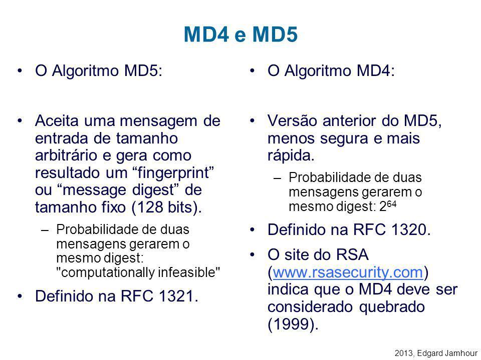 2013, Edgard Jamhour Autenticação no CHAP 1. Pedido de Login (Identificação) 2. Challenge String 2. One-Way-Hash(Password+Challenge String) = RSAs MD5