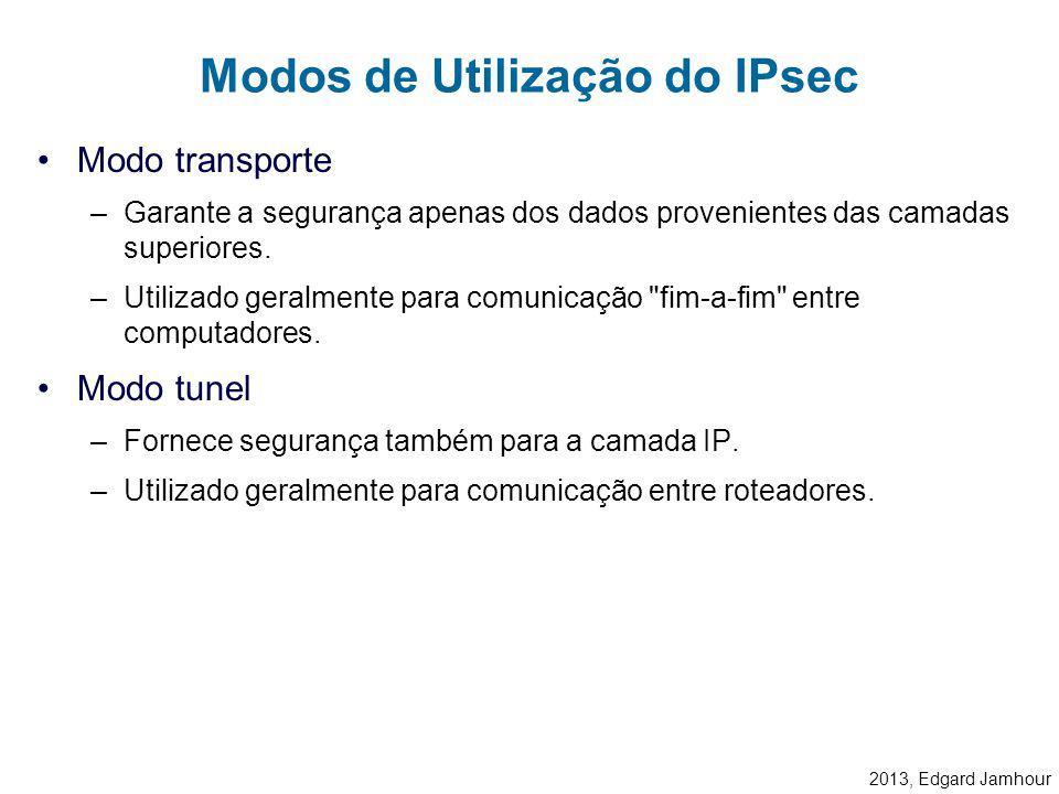 2013, Edgard Jamhour Padrão aberto baseado em RFC (IETF). –Comunicação segura em camada 3 (IPv4 e IPv6) –Provê recursos de segurança sobre redes IP: A