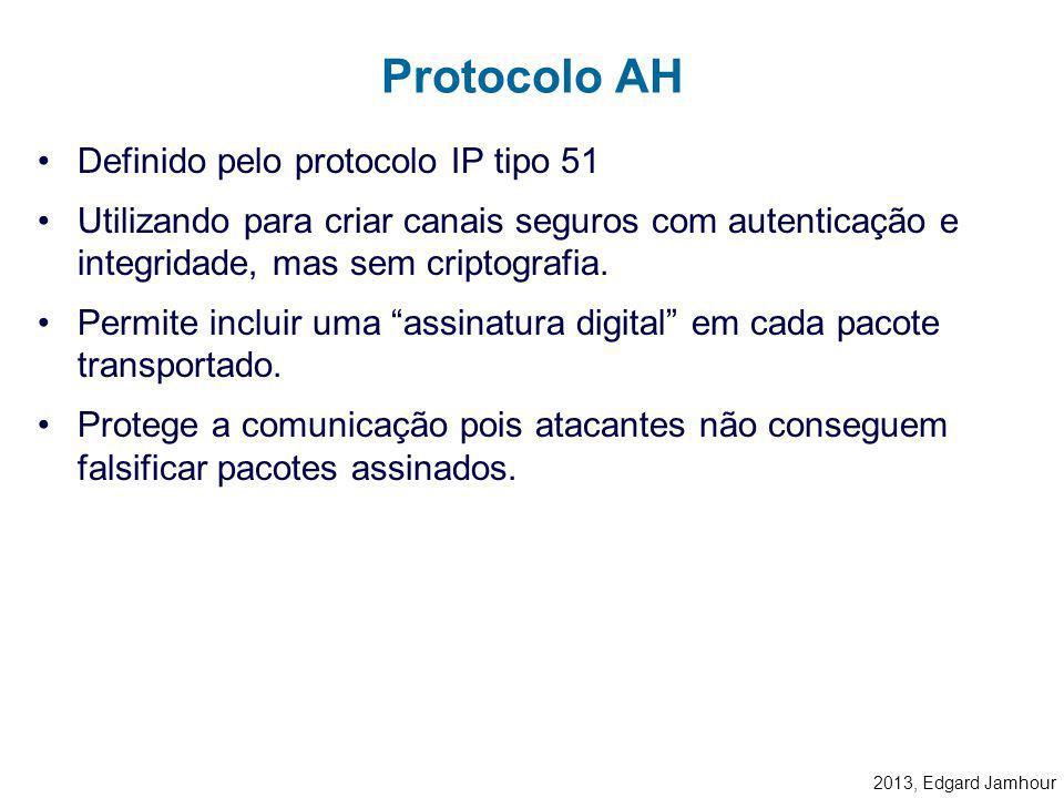 2013, Edgard Jamhour IP Autentication Header (AH) –Protocolo 51 –Oferece recursos de: Autenticação Integridade IP Encapsulating Security Payload (ESP)