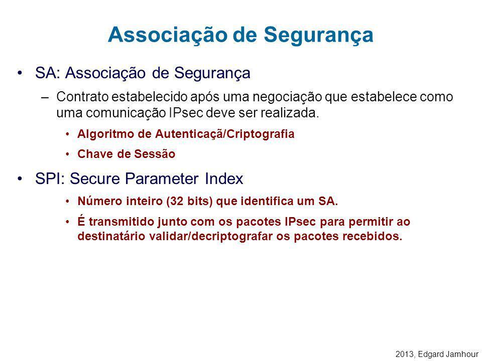 2013, Edgard Jamhour Uma vez definida uma política comum a ambos os computadores, uma associação de segurança (SA) é criada para lembrar as condições
