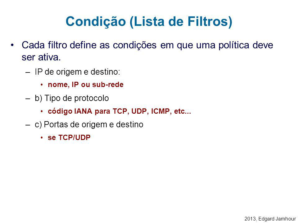 2013, Edgard Jamhour Elementos para Configuração do IPsec Ações (Ação de Filtro) Condições (Lista de Filtros) Política IPsec Regra de Política Lista d