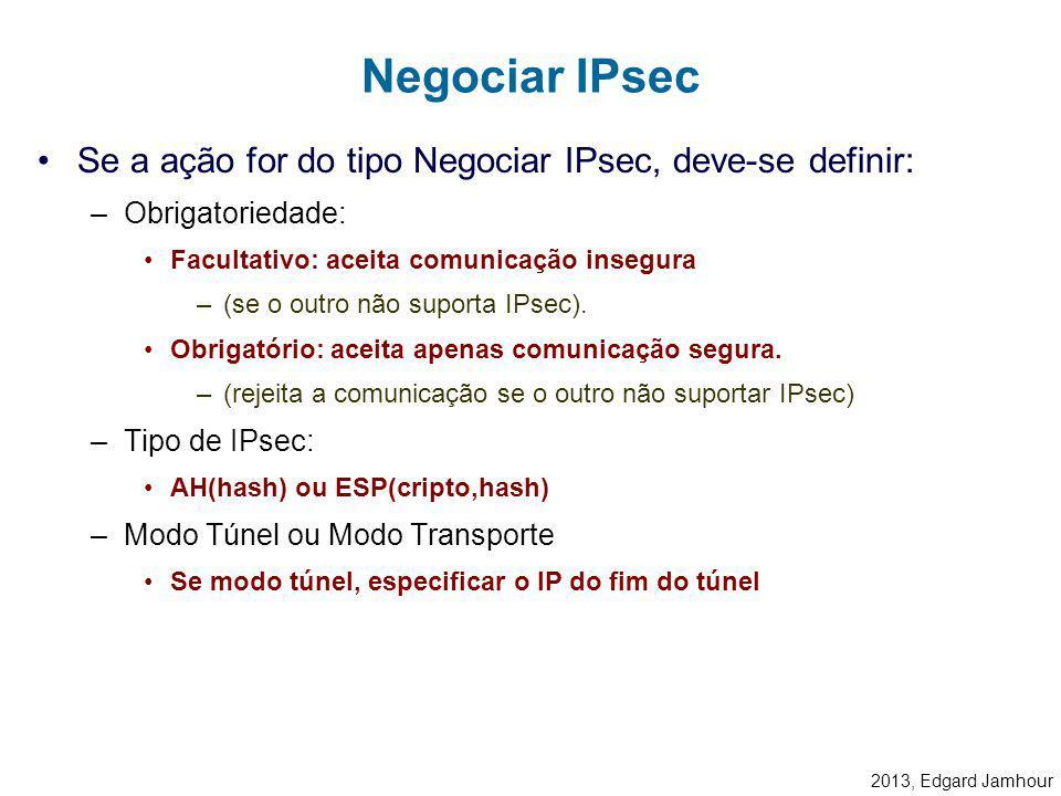 2013, Edgard Jamhour Ações IPsec na Recepção Discard Bypass Regras IPsec verifica assinaturas decriptografa IPsec Driver Enlace IP IPsec AH IP Negocia