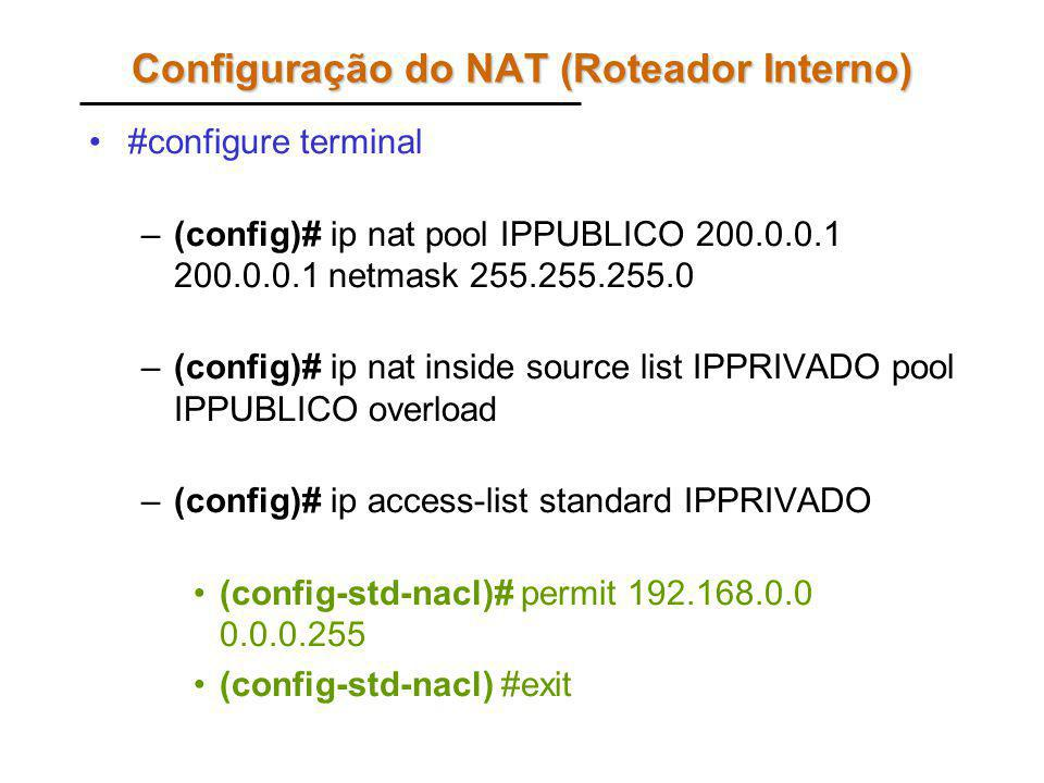 Configuração do NAT (Roteador Interno) #configure terminal –(config)# ip nat pool IPPUBLICO 200.0.0.1 200.0.0.1 netmask 255.255.255.0 –(config)# ip na
