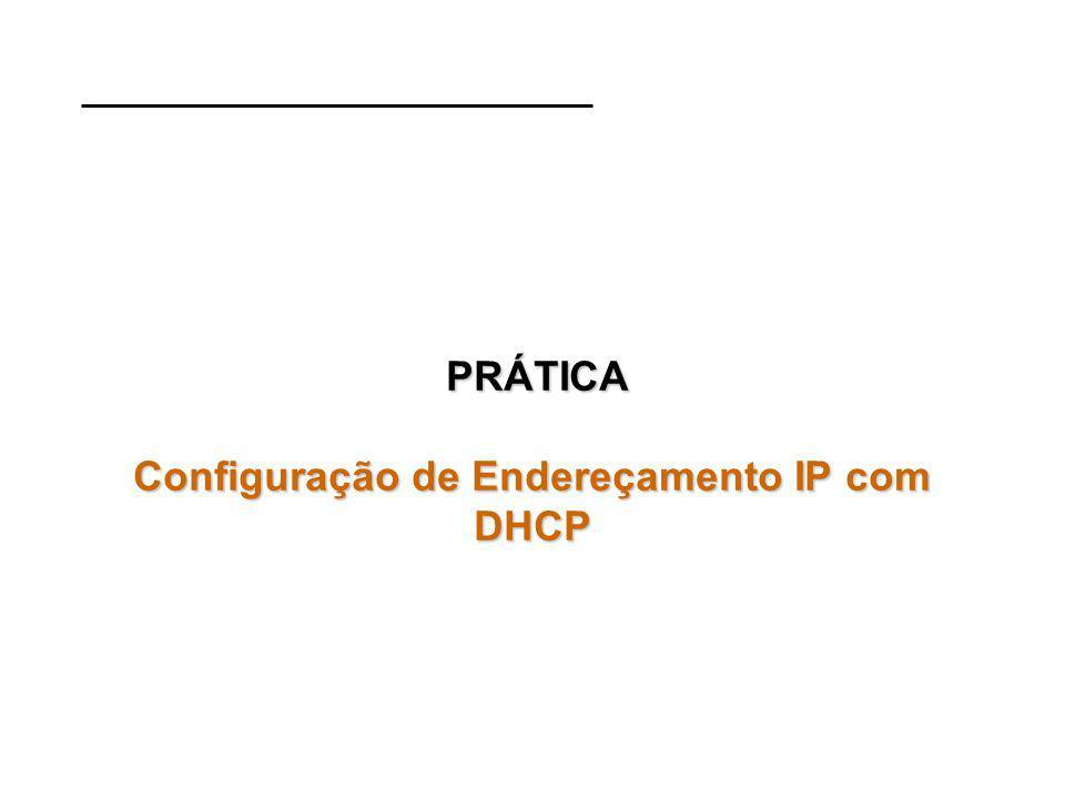PRÁTICA Configuração de Endereçamento IP com DHCP PRÁTICA Configuração de Endereçamento IP com DHCP