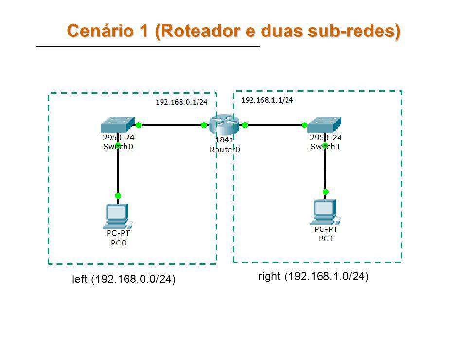 Comandos PASSO 1: Crie a configuração da sub-rede left (computador PC0): –enable –configure terminal –ip dhcp pool left –network 192.168.0.0 255.255.255.0 –dns-server 192.168.0.2 –default-router 192.168.0.1 –exit –ip dhcp exclude-address 192.168.0.0 192.168.0.10