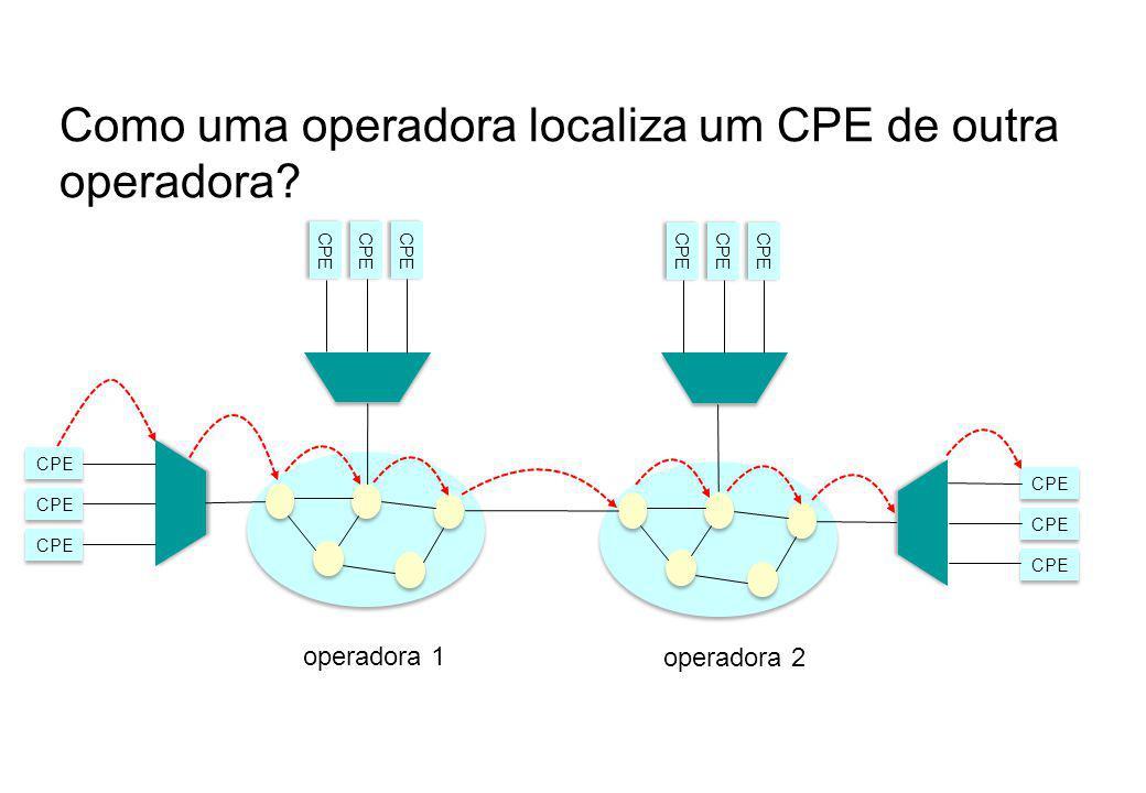 Como uma operadora localiza um CPE de outra operadora? CPE operadora 2 operadora 1 CPE