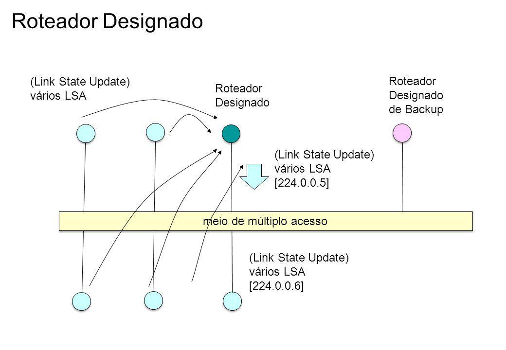 Roteador Designado meio de múltiplo acesso Roteador Designado Roteador Designado de Backup (Link State Update) vários LSA [224.0.0.5] (Link State Update) vários LSA (Link State Update) vários LSA [224.0.0.6]