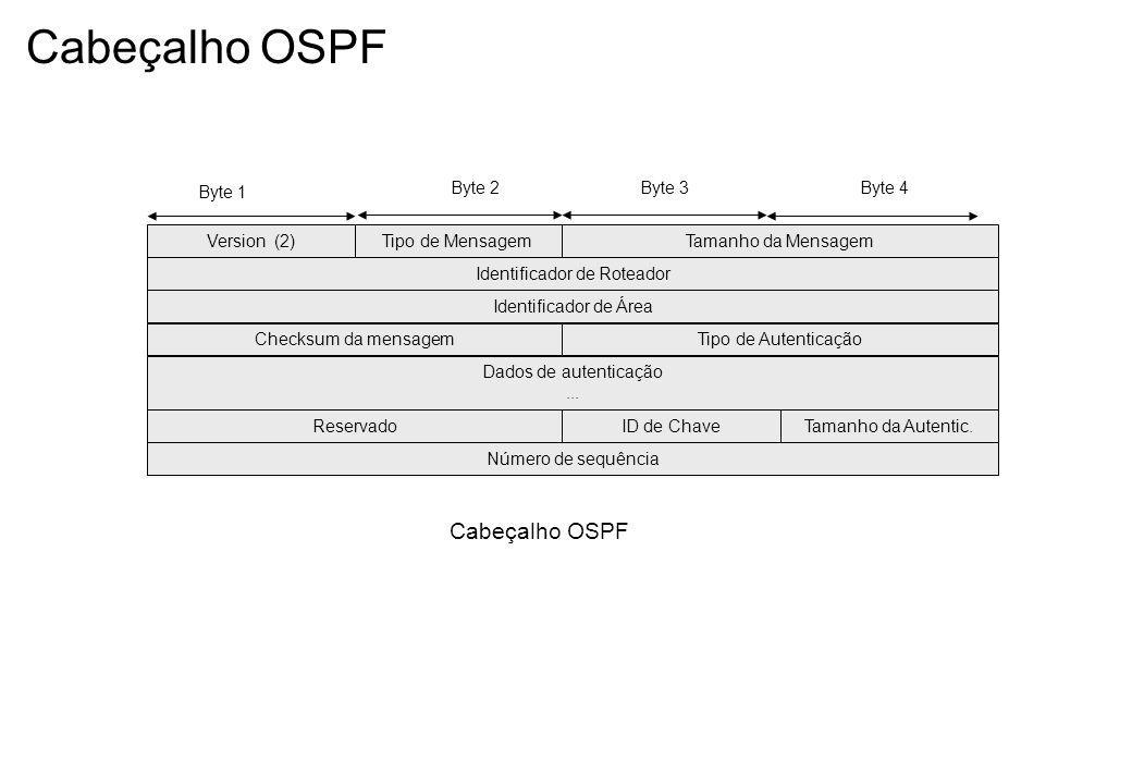 Cabeçalho OSPF Version (2)Tipo de MensagemTamanho da Mensagem Identificador de Roteador Byte 1 Byte 2Byte 3Byte 4 Identificador de Área Checksum da mensagem Dados de autenticação...