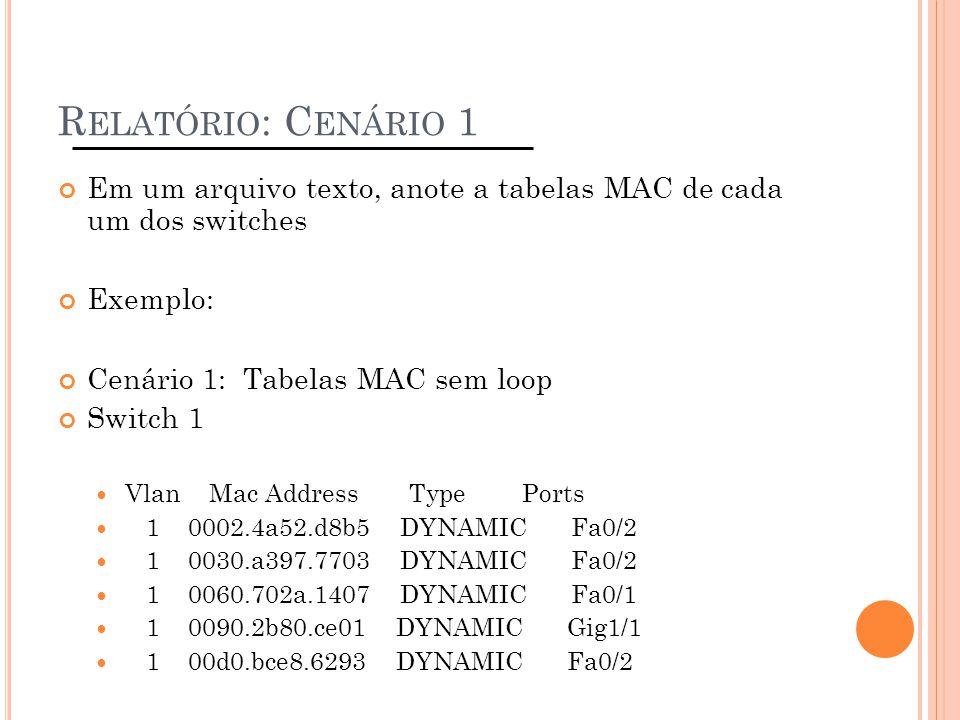 R ELATÓRIO : C ENÁRIO 1 Em um arquivo texto, anote a tabelas MAC de cada um dos switches Exemplo: Cenário 1: Tabelas MAC sem loop Switch 1 Vlan Mac Ad