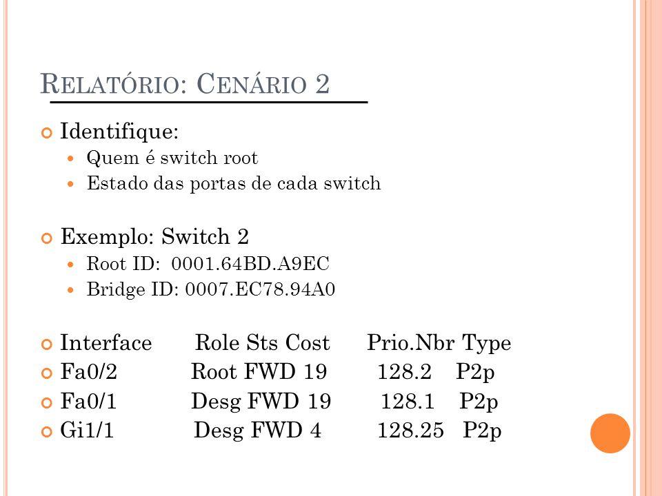 R ELATÓRIO : C ENÁRIO 2 Identifique: Quem é switch root Estado das portas de cada switch Exemplo: Switch 2 Root ID: 0001.64BD.A9EC Bridge ID: 0007.EC7