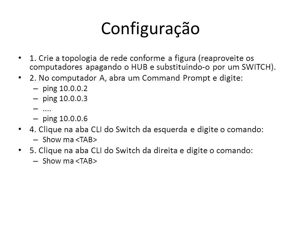 Configuração 1. Crie a topologia de rede conforme a figura (reaproveite os computadores apagando o HUB e substituindo-o por um SWITCH). 2. No computad