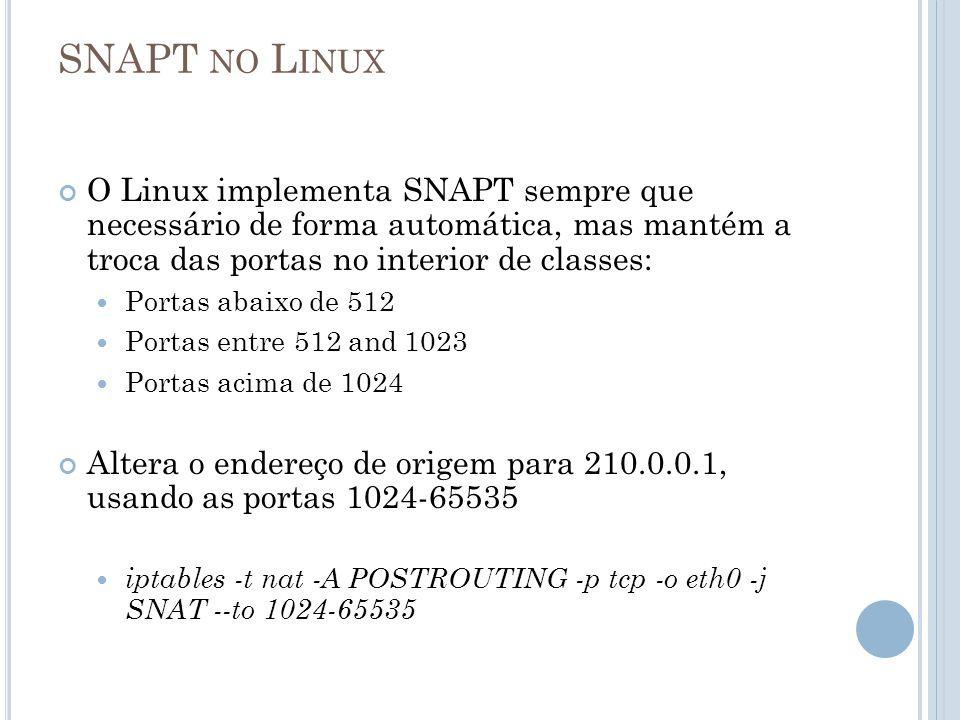 SNAPT NO L INUX O Linux implementa SNAPT sempre que necessário de forma automática, mas mantém a troca das portas no interior de classes: Portas abaix