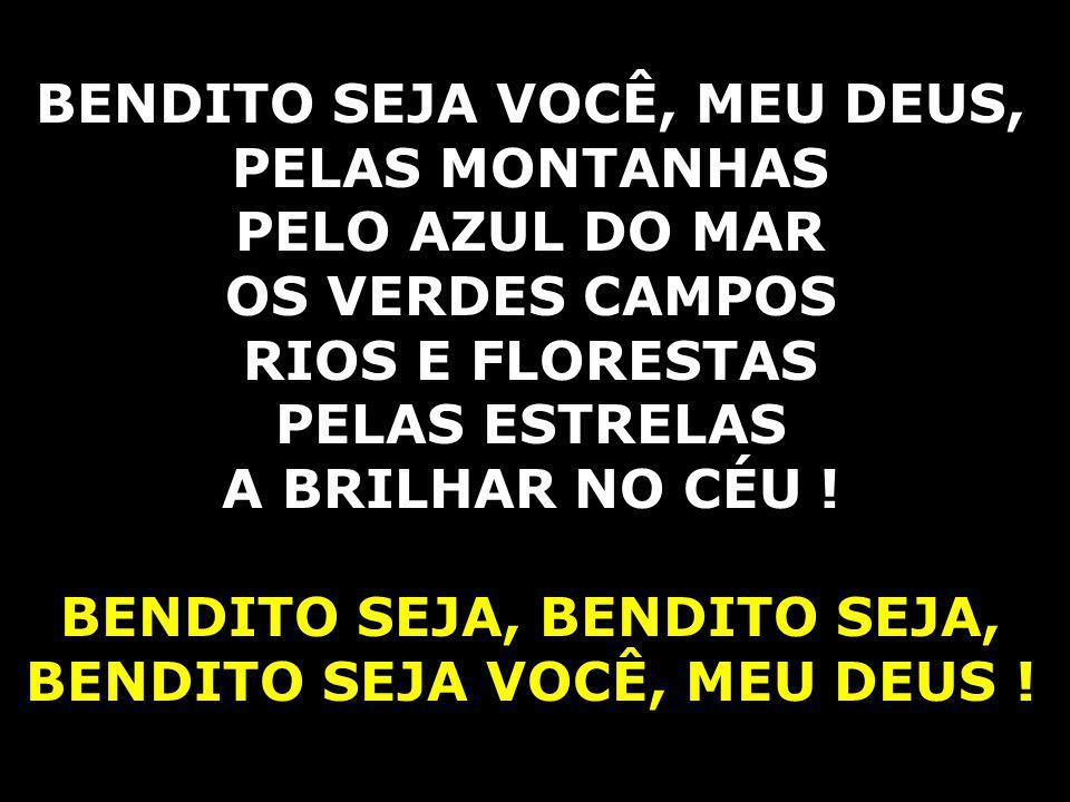 BENDITO SEJA VOCÊ, MEU DEUS, PELAS MONTANHAS PELO AZUL DO MAR OS VERDES CAMPOS RIOS E FLORESTAS PELAS ESTRELAS A BRILHAR NO CÉU ! BENDITO SEJA, BENDIT
