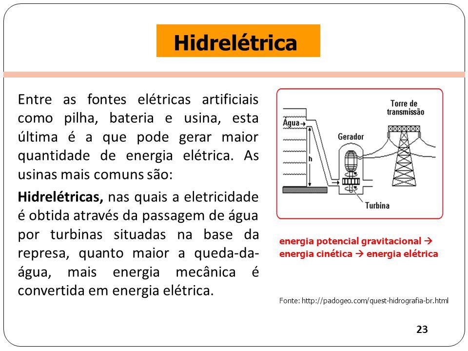 Clique para editar o estilo do título mestre Hidrelétrica Entre as fontes elétricas artificiais como pilha, bateria e usina, esta última é a que pode gerar maior quantidade de energia elétrica.