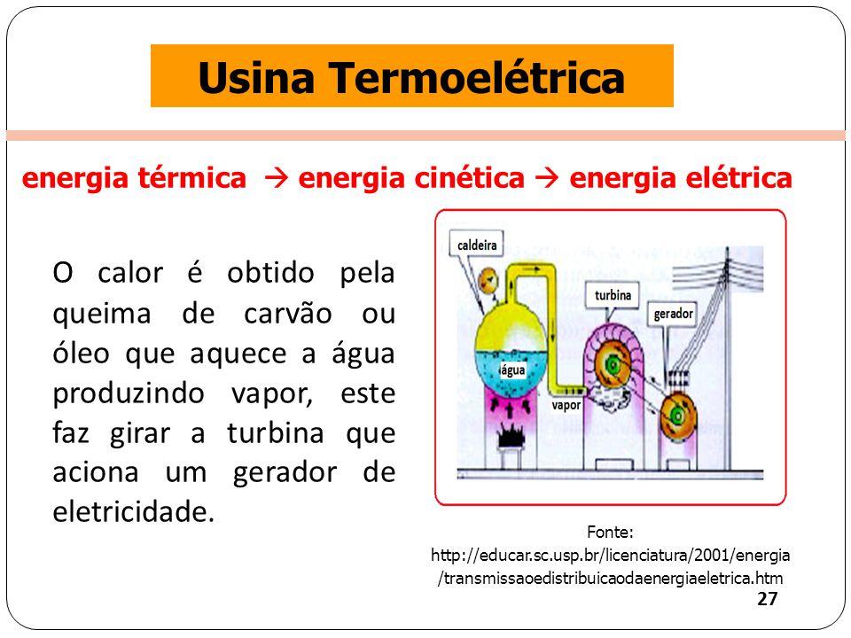 Clique para editar o estilo do título mestre Usina Termoelétrica O calor é obtido pela queima de carvão ou óleo que aquece a água produzindo vapor, este faz girar a turbina que aciona um gerador de eletricidade.