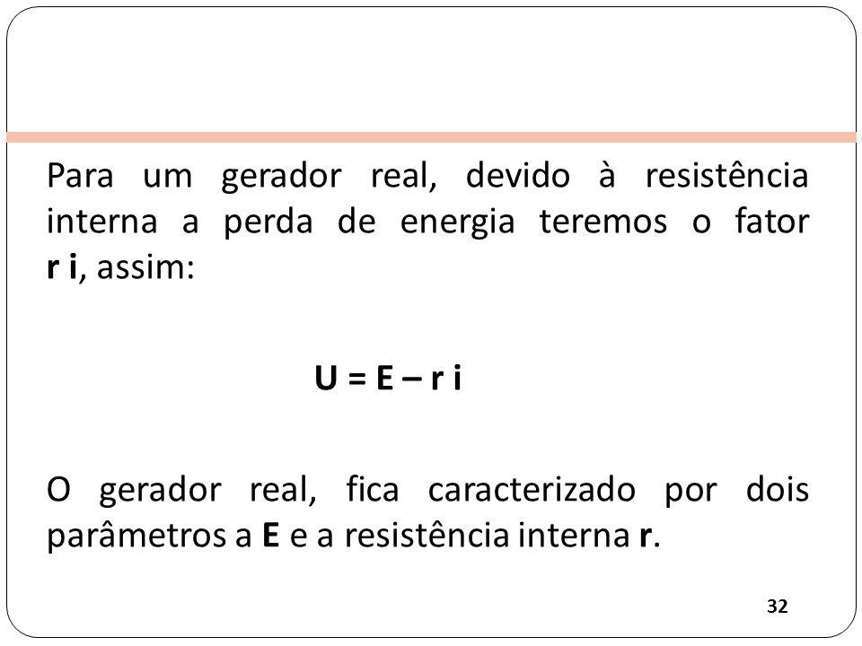 Clique para editar o estilo do título mestre Para um gerador real, devido à resistência interna a perda de energia teremos o fator r i, assim: U = E – r i O gerador real, fica caracterizado por dois parâmetros a E e a resistência interna r.