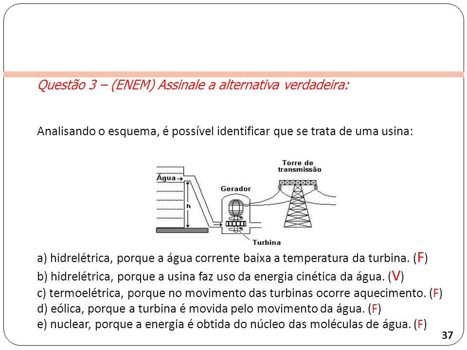 Clique para editar o estilo do título mestre Questão 3 – (ENEM) Assinale a alternativa verdadeira: Analisando o esquema, é possível identificar que se trata de uma usina: a) hidrelétrica, porque a água corrente baixa a temperatura da turbina.