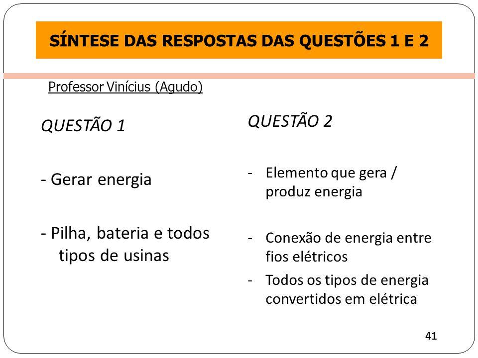 Clique para editar o estilo do título mestre QUESTÃO 1 - Gerar energia - Pilha, bateria e todos tipos de usinas QUESTÃO 2 -Elemento que gera / produz energia -Conexão de energia entre fios elétricos -Todos os tipos de energia convertidos em elétrica SÍNTESE DAS RESPOSTAS DAS QUESTÕES 1 E 2 41 Professor Vinícius (Agudo)
