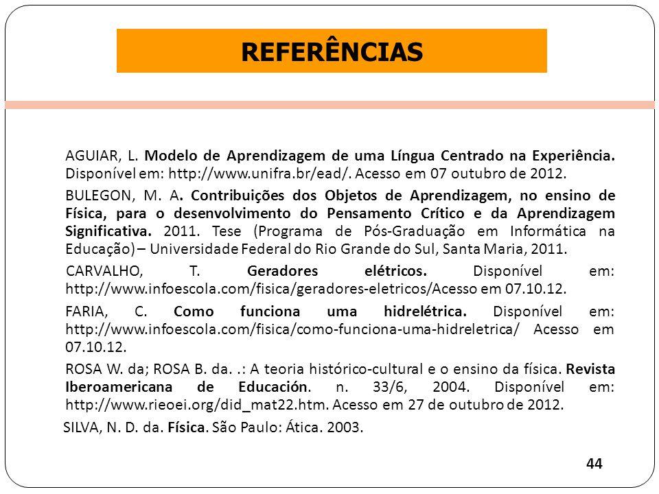 Clique para editar o estilo do título mestre REFERÊNCIAS AGUIAR, L.