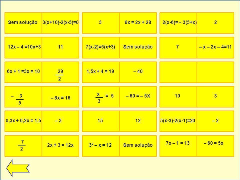 Sem solução3(x+10)-2(x-5)=0 – 8x = 16 0,3x + 0,2x = 1,5– 31,5x + 4 = 19– 402x + 3 = 12x6x + 1 =3x = 10297(x-2)=5(x+3)Sem solução1032(x-6)= – 3(5+x)236x = 2x + 287– x – 2x – 4=11 – 60 = – 5X 12x – 4 =10x+3115(x-3)-2(x-1)=20– 23 2 – x = 12Sem solução 7x – 1 = 13– 60 = 5x 5 3 2 – 3 x =5 1512 2 7