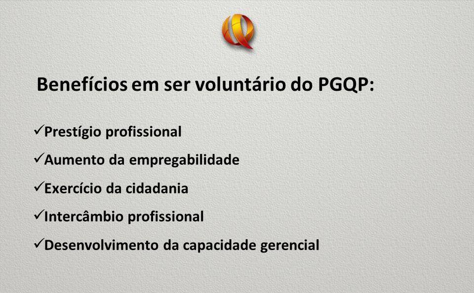 Benefícios em ser voluntário do PGQP: Prestígio profissional Aumento da empregabilidade Exercício da cidadania Intercâmbio profissional Desenvolvimento da capacidade gerencial