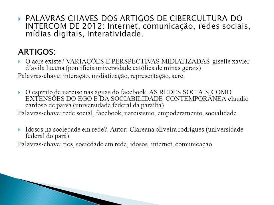 PALAVRAS CHAVES DOS ARTIGOS DE CIBERCULTURA DO INTERCOM DE 2012: Internet, comunicação, redes sociais, mídias digitais, interatividade. ARTIGOS: O acr
