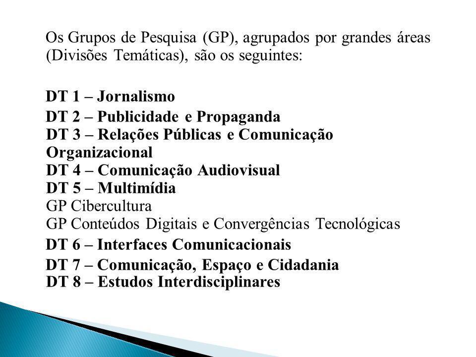 Os Grupos de Pesquisa (GP), agrupados por grandes áreas (Divisões Temáticas), são os seguintes: DT 1 – Jornalismo DT 2 – Publicidade e Propaganda DT 3