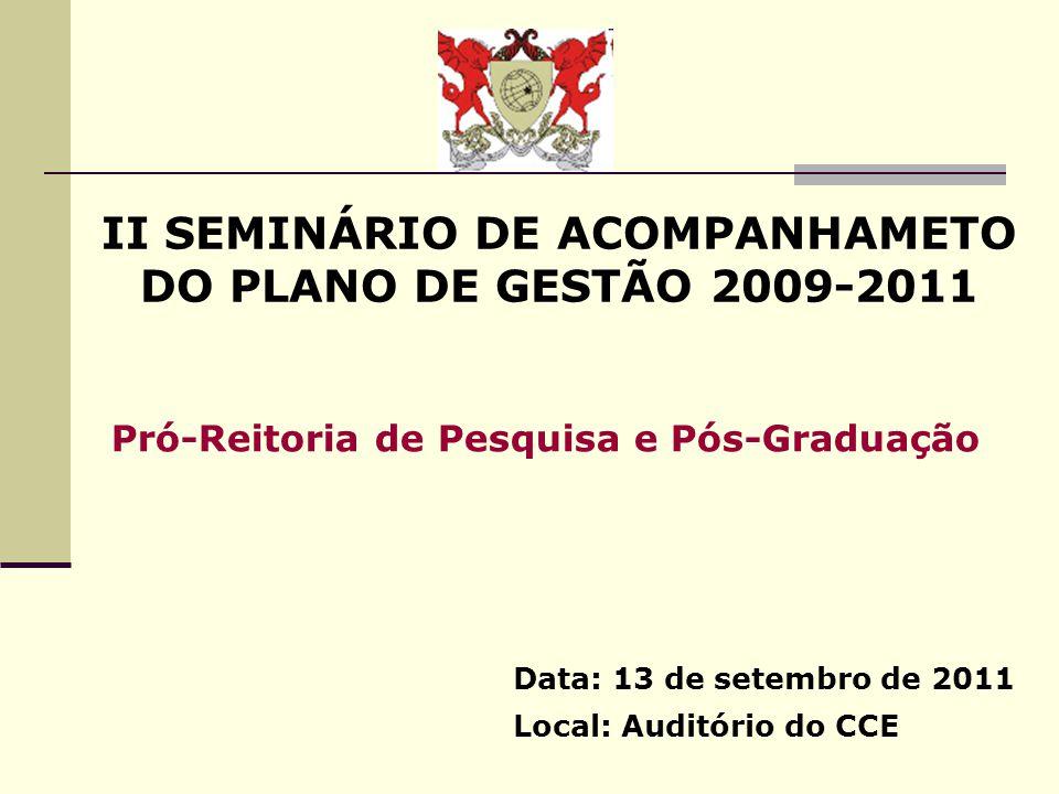 II SEMINÁRIO DE ACOMPANHAMETO DO PLANO DE GESTÃO 2009-2011 Data: 13 de setembro de 2011 Local: Auditório do CCE Pró-Reitoria de Pesquisa e Pós-Graduaç