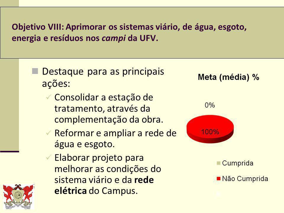 Objetivo VIII: Aprimorar os sistemas viário, de água, esgoto, energia e resíduos nos campi da UFV.