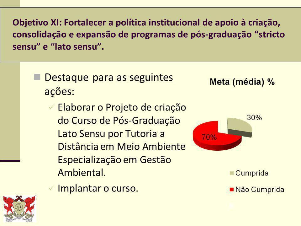 Objetivo XI: Fortalecer a política institucional de apoio à criação, consolidação e expansão de programas de pós-graduação stricto sensu e lato sensu.