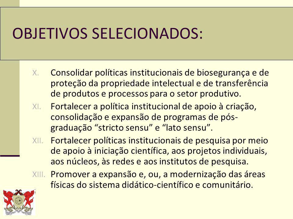 OBJETIVOS SELECIONADOS: X.