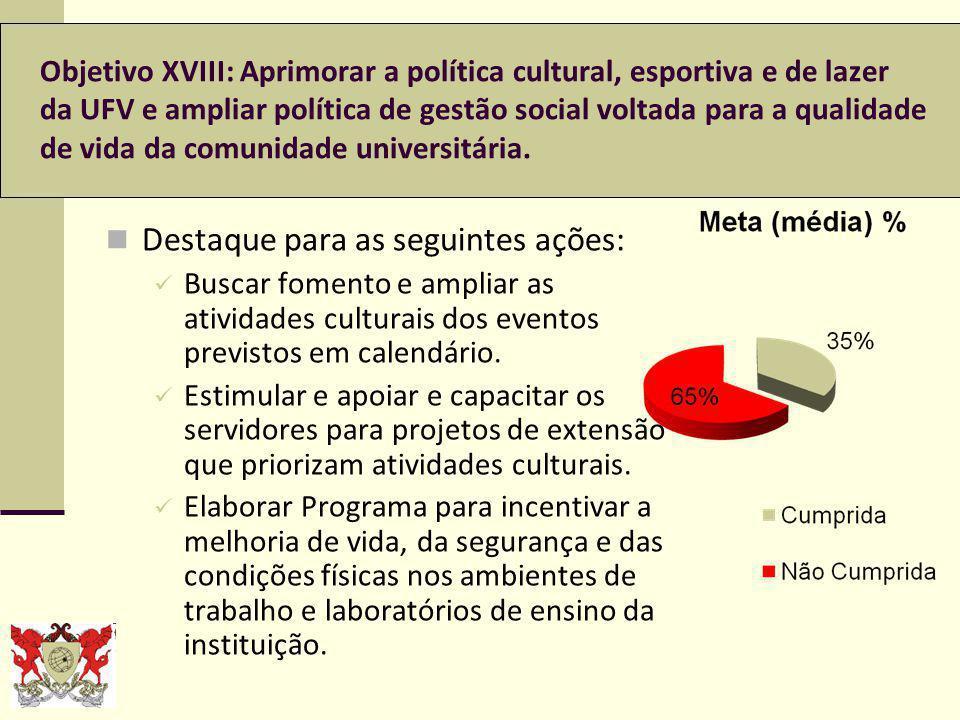 Objetivo XVIII: Aprimorar a política cultural, esportiva e de lazer da UFV e ampliar política de gestão social voltada para a qualidade de vida da comunidade universitária.