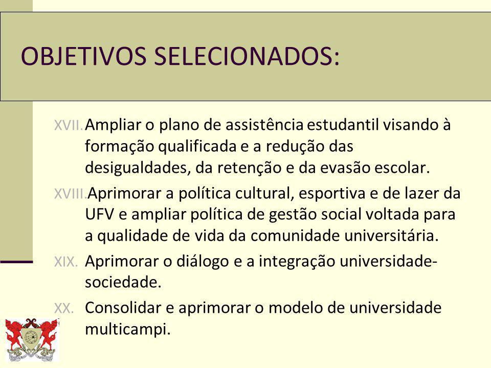 OBJETIVOS SELECIONADOS: XVII.