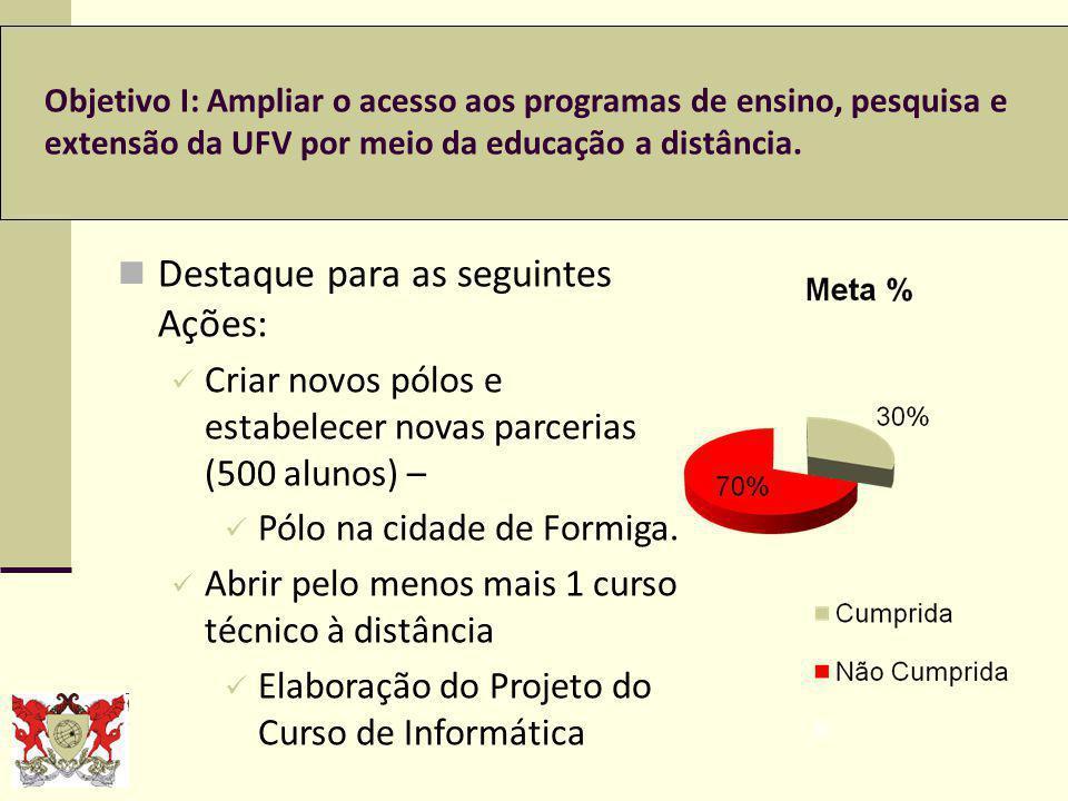 Objetivo XVII: Ampliar o plano de assistência estudantil visando à formação qualificada e a redução das desigualdades, da retenção e da evasão escolar.