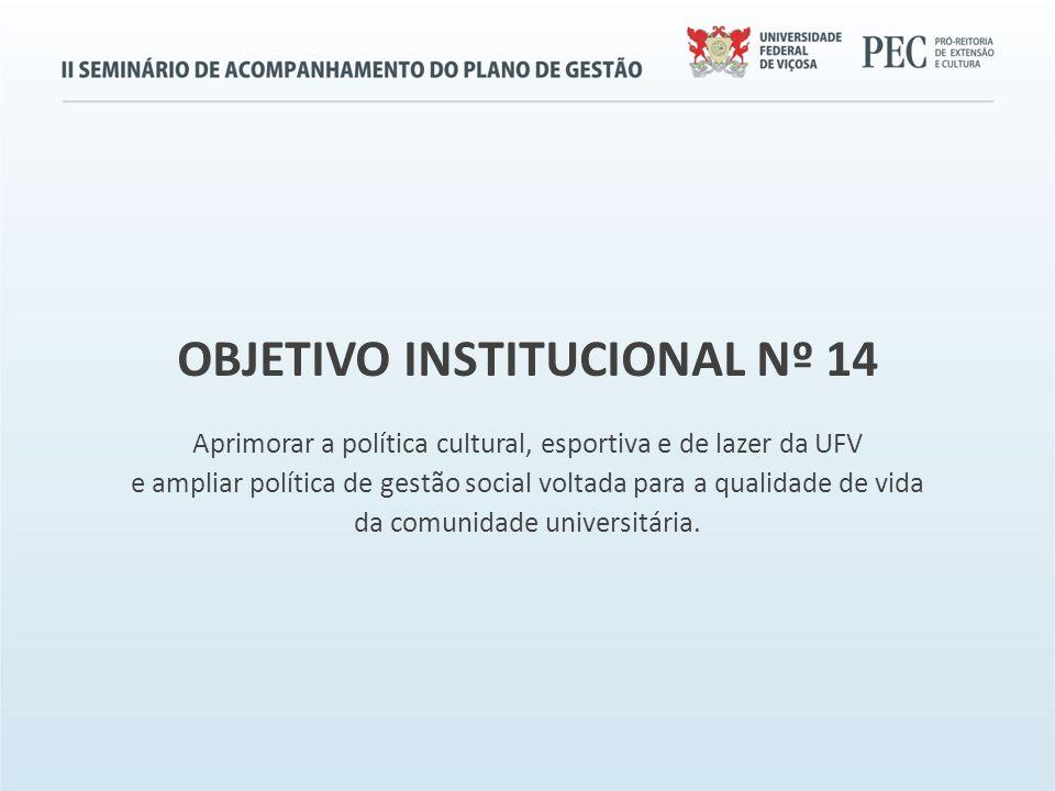 OBJETIVO INSTITUCIONAL Nº 14 Aprimorar a política cultural, esportiva e de lazer da UFV e ampliar política de gestão social voltada para a qualidade de vida da comunidade universitária.