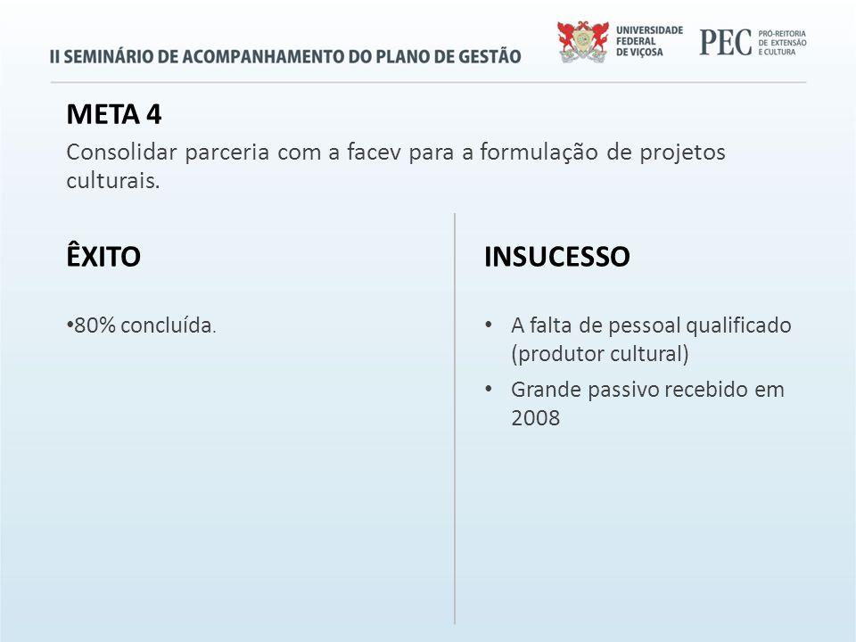META 4 Consolidar parceria com a facev para a formulação de projetos culturais.