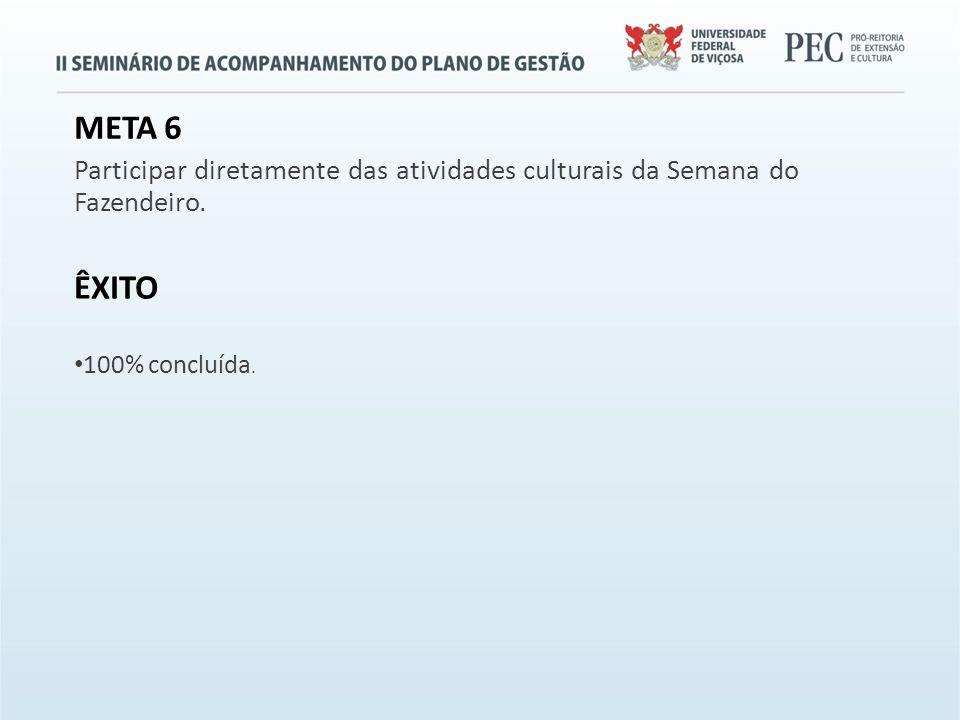 META 6 Participar diretamente das atividades culturais da Semana do Fazendeiro.