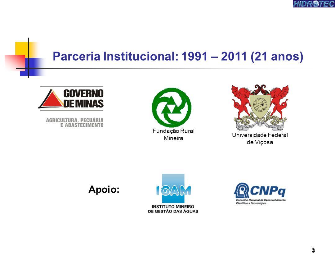 3 Parceria Institucional: 1991 – 2011 (21 anos) Apoio: Fundação Rural Mineira Universidade Federal de Viçosa