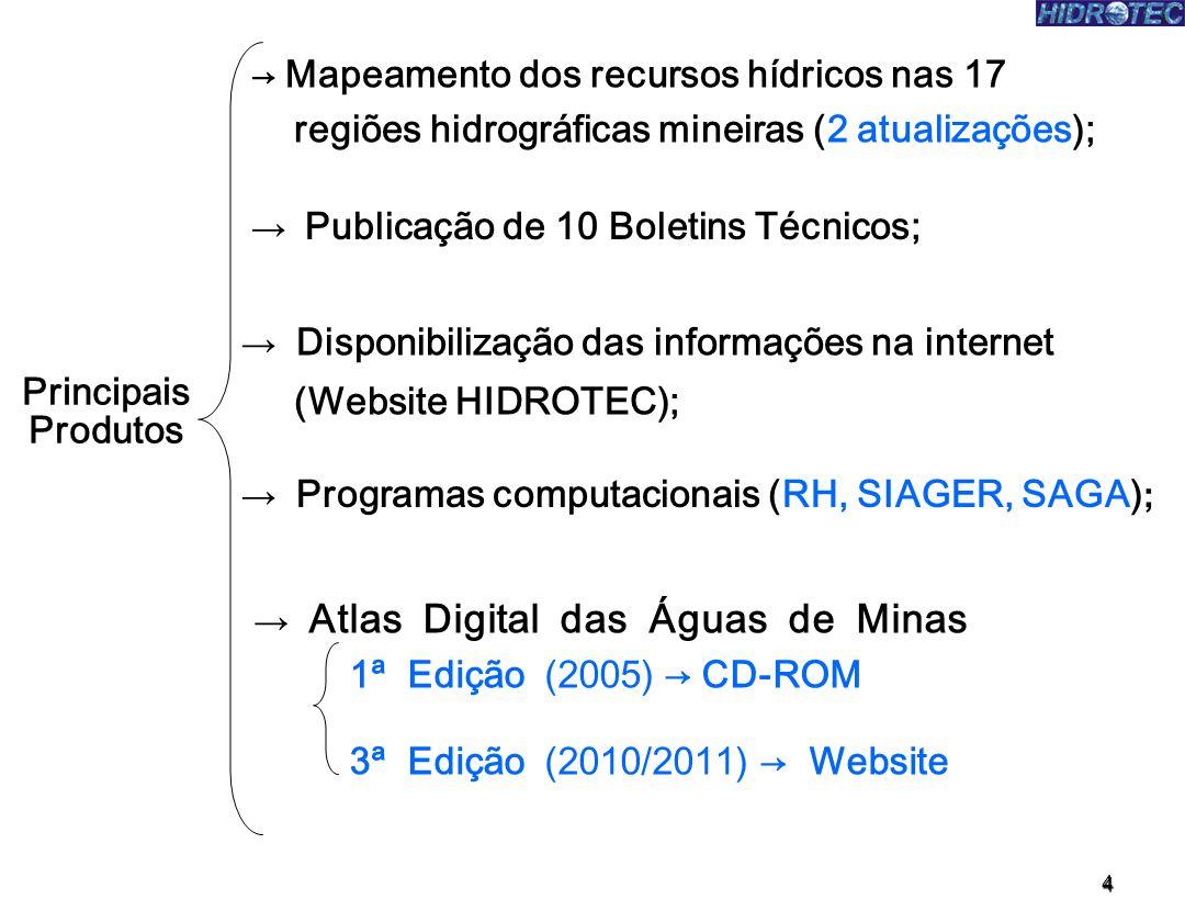 4 Principais Produtos Mapeamento dos recursos hídricos nas 17 regiões hidrográficas mineiras (2 atualizações); Atlas Digital das Águas de Minas 1ª Edi