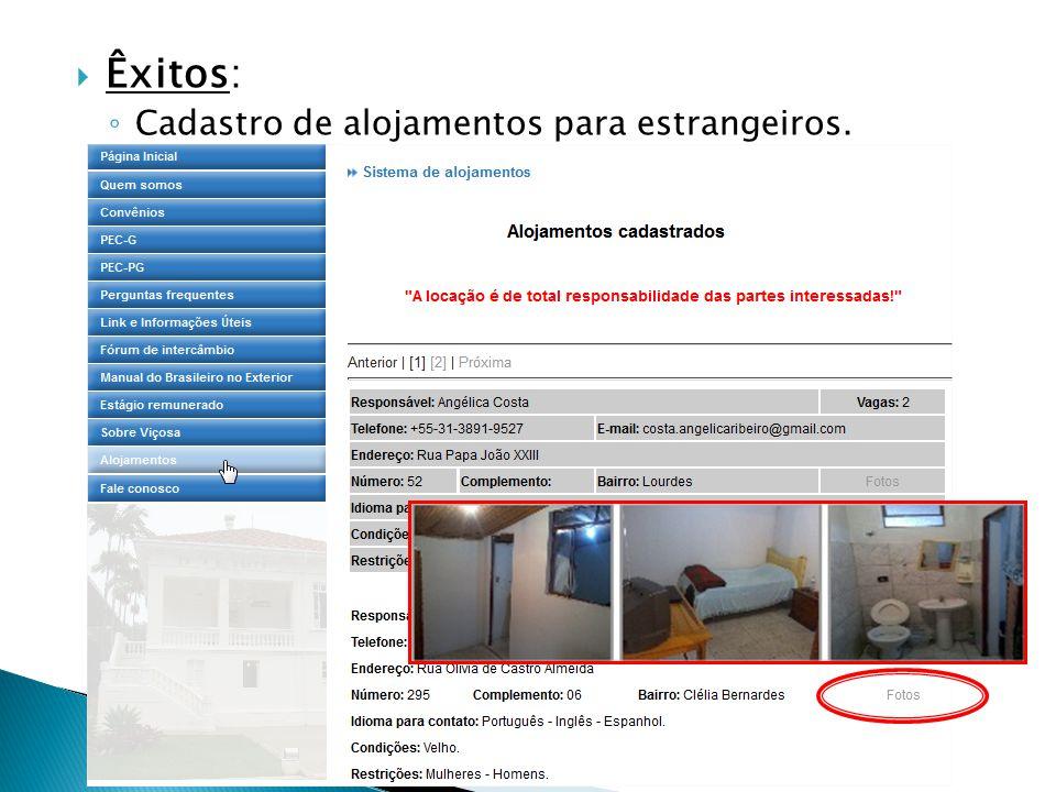 Êxitos: Cadastro de alojamentos para estrangeiros.
