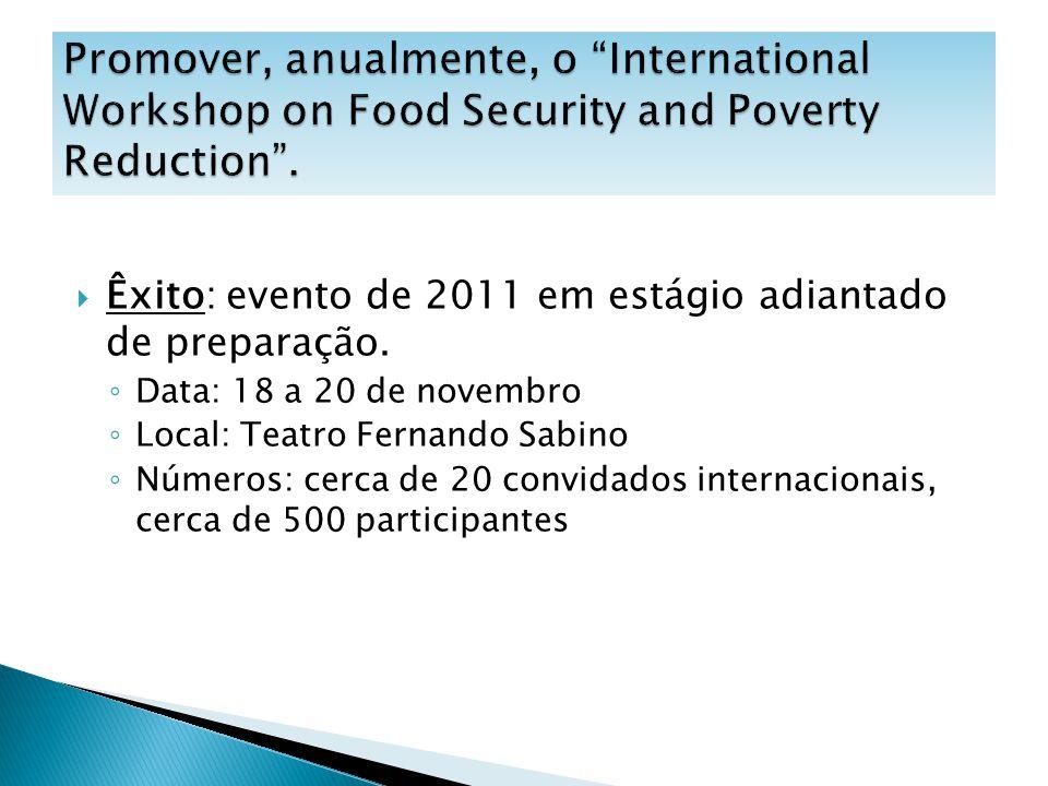 Êxito: evento de 2011 em estágio adiantado de preparação. Data: 18 a 20 de novembro Local: Teatro Fernando Sabino Números: cerca de 20 convidados inte