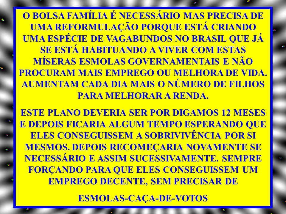 O BOLSA FAMÍLIA É NECESSÁRIO MAS PRECISA DE UMA REFORMULAÇÃO PORQUE ESTÁ CRIANDO UMA ESPÉCIE DE VAGABUNDOS NO BRASIL QUE JÁ SE ESTÁ HABITUANDO A VIVER COM ESTAS MÍSERAS ESMOLAS GOVERNAMENTAIS E NÃO PROCURAM MAIS EMPREGO OU MELHORA DE VIDA.