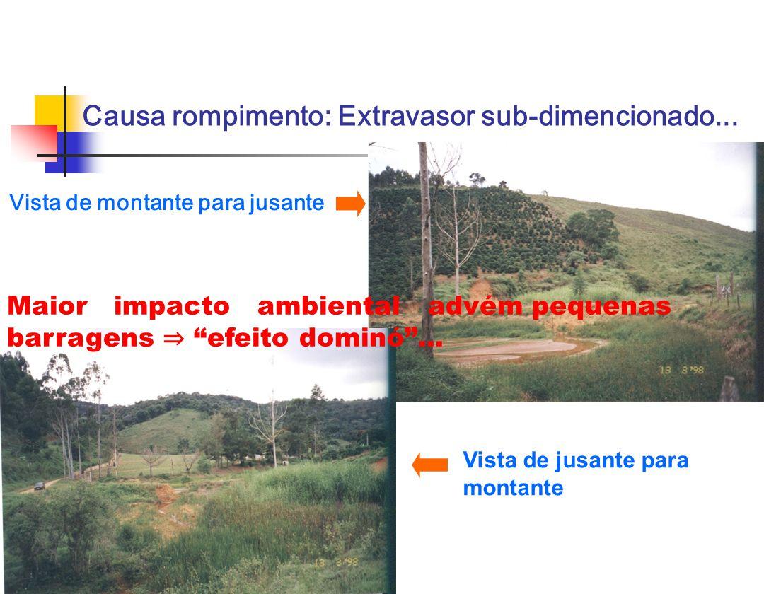 Vista de montante para jusante Vista de jusante para montante Causa rompimento: Extravasor sub-dimencionado... Maior impacto ambiental advém pequenas