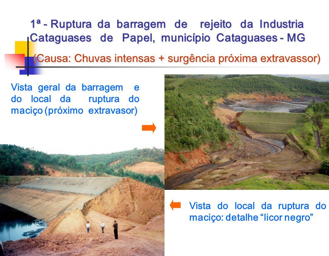 1ª - Ruptura da barragem de rejeito da Industria Cataguases de Papel, município Cataguases - MG (Causa: Chuvas intensas + surgência próxima extravasso